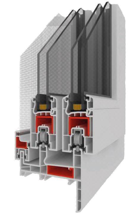 Puertas deslizables en PVC, cámaras aislantes totalmente aisladas. Malla Antiplagas