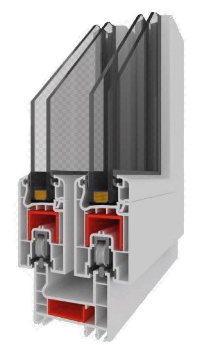 Puertas deslizables en PVC, cámaras aislantes totalmente aisladas.