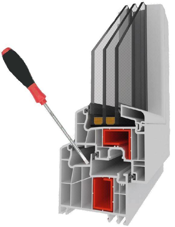Ventanería en PVC, cámaras aislantes, Antivandalica